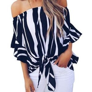 Women's Striped Off Shoulder Blouses Tops
